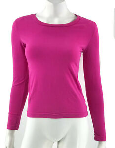 Champion Athletic Top Small Pink Long Sleeve Crewneck Solid Gym Workout Womens