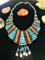 Spirit Vintage 60's Egyptian Bohemian Vibration Turquoise Coral Charmed Necklace