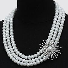 White Pearl Necklace Rhinestone Flower Statement Bridal Wedding Formal Women