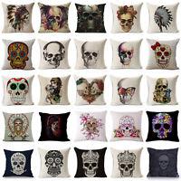 Cotton Linen Skull Pattern Pillow Case Punk Style Sofa Cushion Cover Home Decor