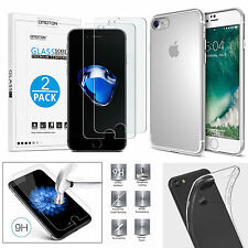 For New iPhone 7 Transparent Clear Gel Case TPU Soft Skin and Tempered Protector