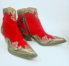 Donald J Pliner WESTERN COUTURE METALLIC LEATHER RED VELVET ANKLE BOOTS Size 6M