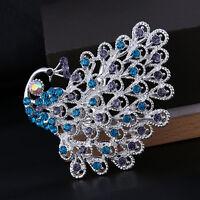 Fashion Colorful Tone Crystal Peacock Bird Brooch Pins Rhinestone Jewelry Gifts