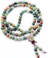 New Natural 6mm stone Buddhist Agate 108 Prayer Beads Mala Bracelet Necklace