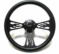 1955 -1956 Chevy Impala Black Flame Wheel, Adapter, Horn Full Install Kit!