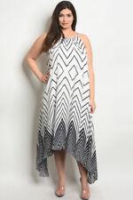 Womens Plus Size White and Navy Blue Maxi Dress 2XL New Chevron Print Travel Att