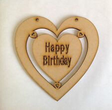 Large Wooden Heart Craft Shape Happy Birthday