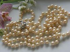 Antikes Collier 835° Silber cremfarbig Perlen 125 cm sehr edel Art Déco 1930 C48