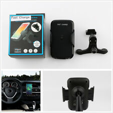Qi 10W Fast Wireless Charger Black Car Mount Holder Stand Kit For Samsung iPhone