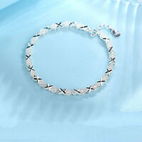 Solid Silver Bracelet 925 Women Roman Chain Crystal Bangle Wedding Jewelry Gifts