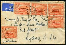 Aden 1953 (Feb.10) airmail cover to Sydney with KGVI 30c on 8a (5) all tied by..