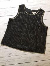 Kaleidoscope Top 18 Black Silver Beaded Evening Party Wear Sparkly Sleeveless