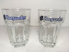 Hoegaarden Belgian Beer Glass .25 L Hexagon Shape Breweriana Set Of 2 Barware