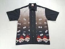 VTG JNCO Flamer Dice Button Up Bowling Shirt XL Fire Black