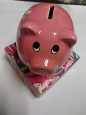 Pink Piggy Bank Kids Bank Lush Time Whimsical White Flowers - 5-1/2""