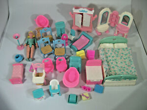 Vtg Lot Fisher Price Loving Family, Furniture,  Accessories