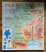 carte d'école - affiche scolaire 1960 cotes de la mer du nord et reliefs