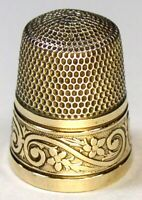 """Antique Simons Bros. Gold Band Sterling Silver Thimble  """"Flowers & S Scrolls"""""""
