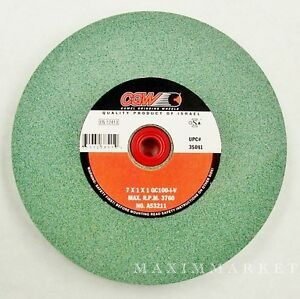 """Lot of 2, 7""""x1""""x1"""" Green Silicon Carbide Grinding Wheel for Bench or Pedestal"""
