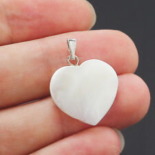 2 x Mother of Pearl Natural Shell Heart Shape Beads Pendant for Necklace Making