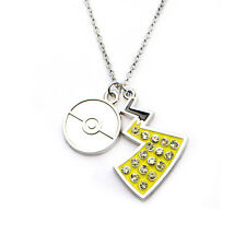 Pokemon Pokeball & Pikachu Tail with Clear Gem Pendant Stainless Steel Necklace