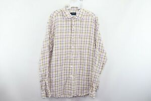 Lorenzini Mens XL Fine Linen Long Sleeve Plaid Button Down Dress Shirt Purple