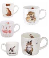 Royal Worcester Wrendale Countryside Animal Mug Gift Boxed - Fox,Flamingo,Rabbit