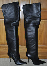 DOLCE & GABBANA OVER THE KNEE BOOTS BLACK LEATHER HIGH HEEL IT 40 US 10