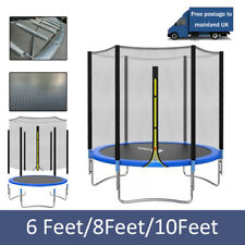 6FT 8FT 10FT Trampoline With Safety Net Spring Cover Ladder Shoe Bag Rain Cover
