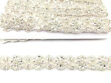 Diamante Bridal Silver Belt Wedding Dress Sash Diamante Applique Trim 11''X3Cm