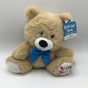 """AMERICAN GREETING HAPPY BIRTHDAY BEAR TEDDY BEAR PLUSH 9"""" BEIGE Blue Bow"""