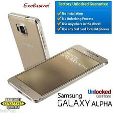 Samsung 4G Galaxy Alpha Metal Gold World Unlocked Smartphone LTE GSM 32GB Bundle