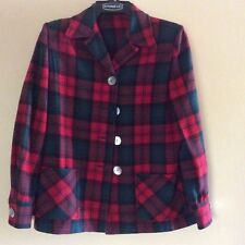 Pendleton style Vintage Ladies Coat Jacket - Red / Dk Green  Sz 14 / Large 1950s