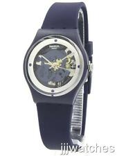 New Swatch Originals Squelette Blue Silicone See-Thru Dial Watch 34mm GN245 $65