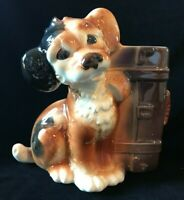 Vintage Royal Copley Skip The Dog with Suitcase Planter