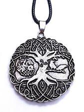 Muninn Raven Triskelion Corded Necklace Tree of Life Pendant Yggdrasil Huginn