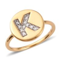 14K Yellow Gold Over 925 Silver Diamond K Initial Alphabet Ring Jewelry For Her