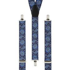 Paisley Blue Navy White Clip On Trouser Braces Elastic Suspenders Handmade UK