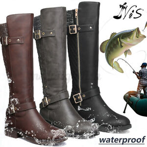 Women Knee High Boots Wide-Calf Riding Combat Boots Buckle Shoes Warm Snow Size
