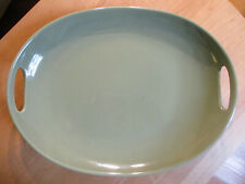 Longaberger Woven Traditions Pottery Sage Contour Swoop Handled Serving Tray