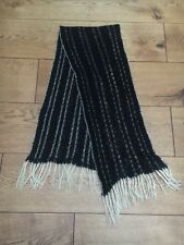 Vintage 1970's Black Silver Crochet Scarf With Fringe Tassels