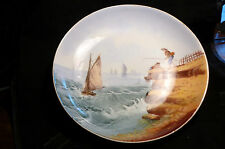 assiette décorative en porcelaine vers 1900,pêche et bateaux