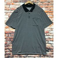 Hurley Nike Dri Fit Polo Shirt Men Large Blue Striped Short Sleeve Skater Golf