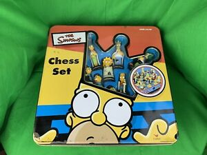The Simpsons 3D Chess Set in Tin Box by Cardinal 2002- Complete
