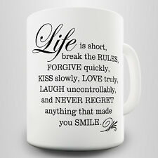 Life is Short Gift Mug - Inspirational quote about the key points in life
