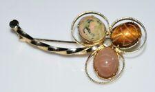 Vtg D'Abros 12k Gold Filled Stone Scarab Clover Pin Brooch