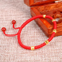 1PCS Pure 24k Yellow Gold 5pcs Luck Beads + Red Rope Weave Bracelet (Wholesale)