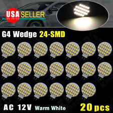 20X G4 3500K Warm White 24-SMD 12V AC Car Auto Marine Home Marine LED Light Bulb