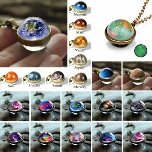 Glow In the Dark Galaxy System Double Sided Glass Planet Necklace Pendant Gifts