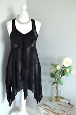ALLSAINTS Anthia black silk drape tunic top/ dress BEST FIT UK 8